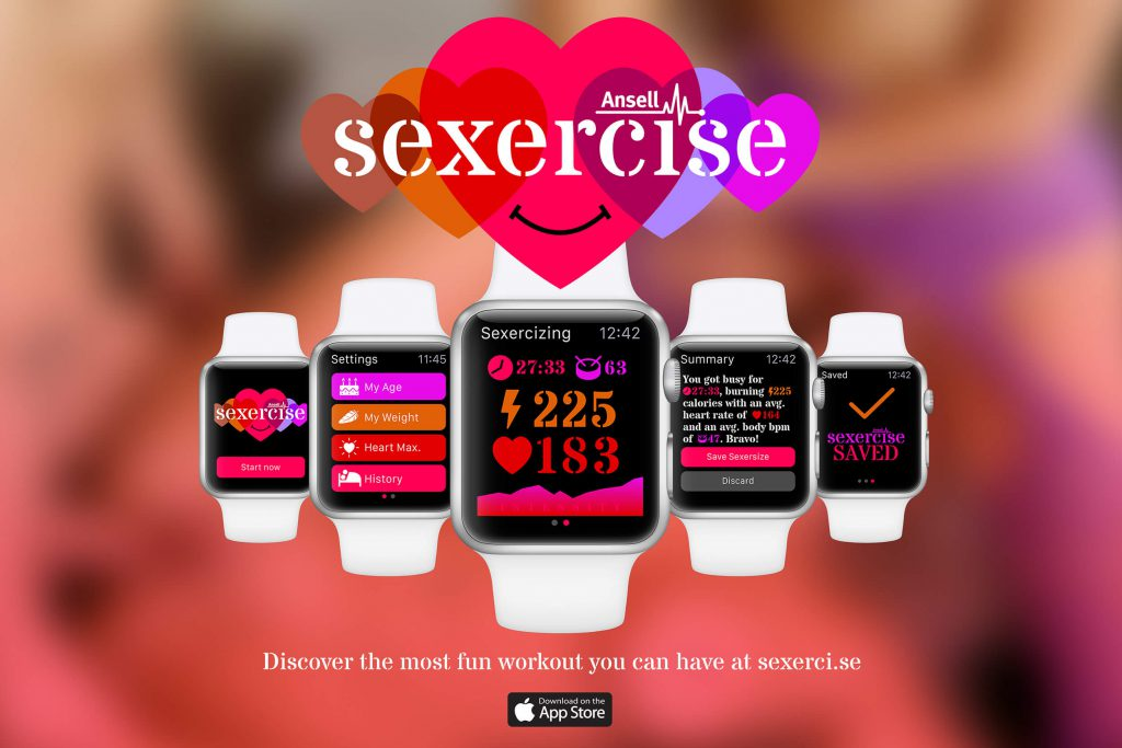 Ansell: Sexercize App is a safe, fun and easy way to turn your sex life into workouts that you can track. I was responsible for concept development and service design on this project.