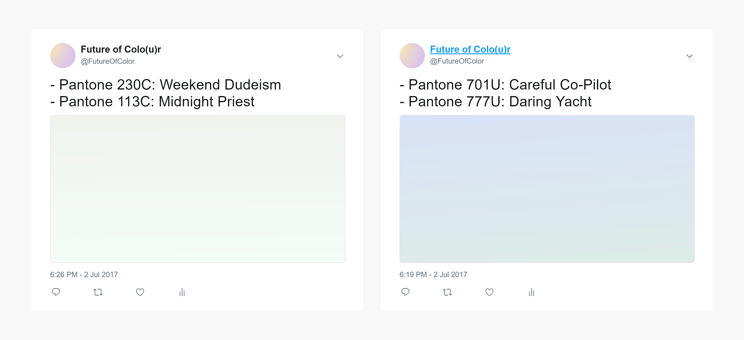 Twitter Bot: Future of Colo(u)r is a javascript Twitter Bot I made that uses algorithms to create random colour gradients and random colour names. I was responsible for concept development and javascript development.