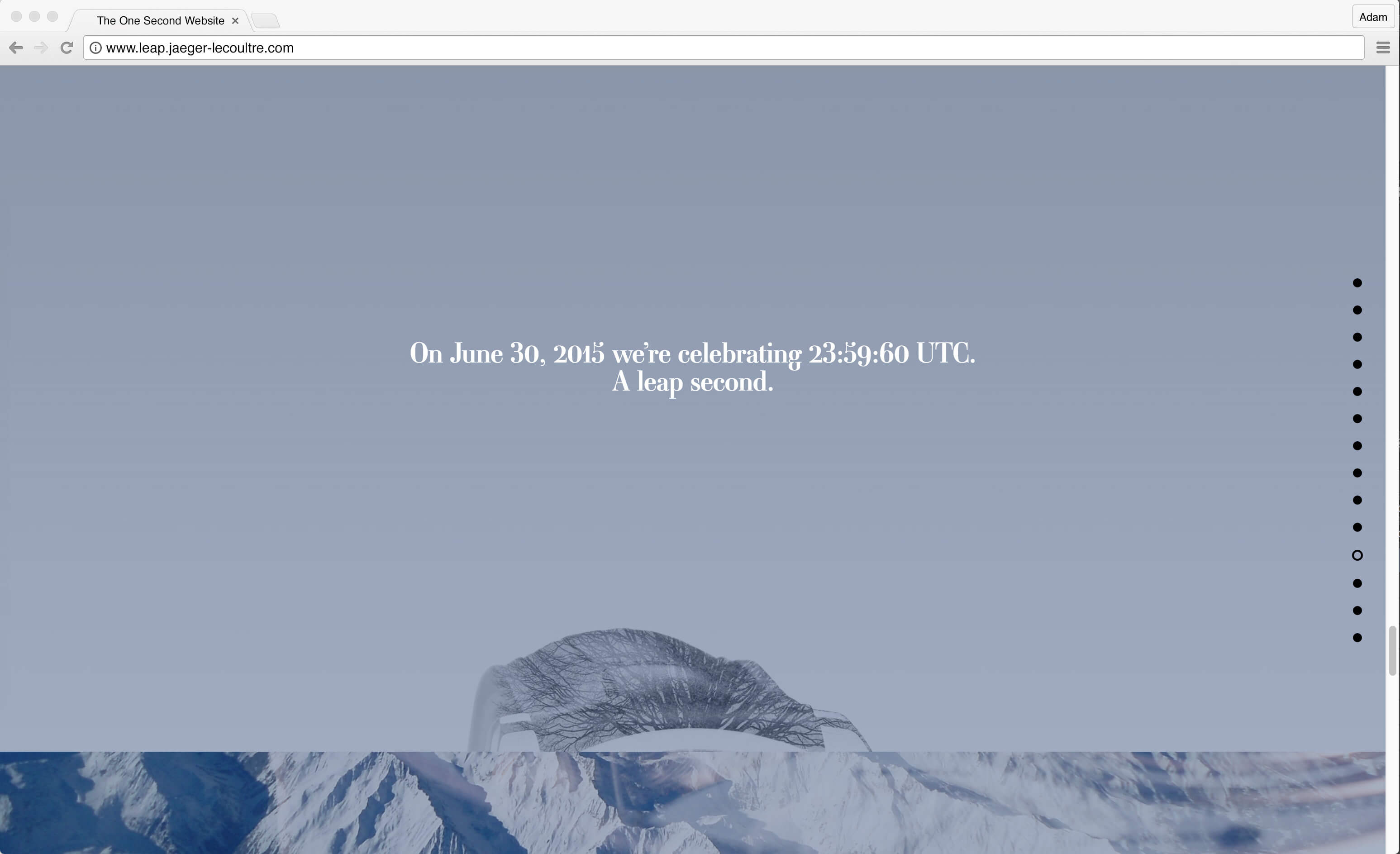 Jaeger-LeCoultre: 1 Second Website is a project that celebrate Jaeger-LeCoultre's history of precision watchmaking and the chronological phenomena of the lean second. I was responsible for the concept, copywriting and service design.