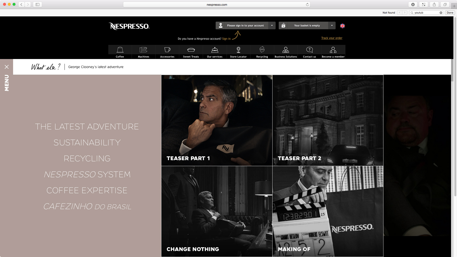 """Nespresso: """"Change Nothing"""" is a global website design to tease the new George Clooney campaign. I was responsible for the creative on the website, both art direction and copywriting."""