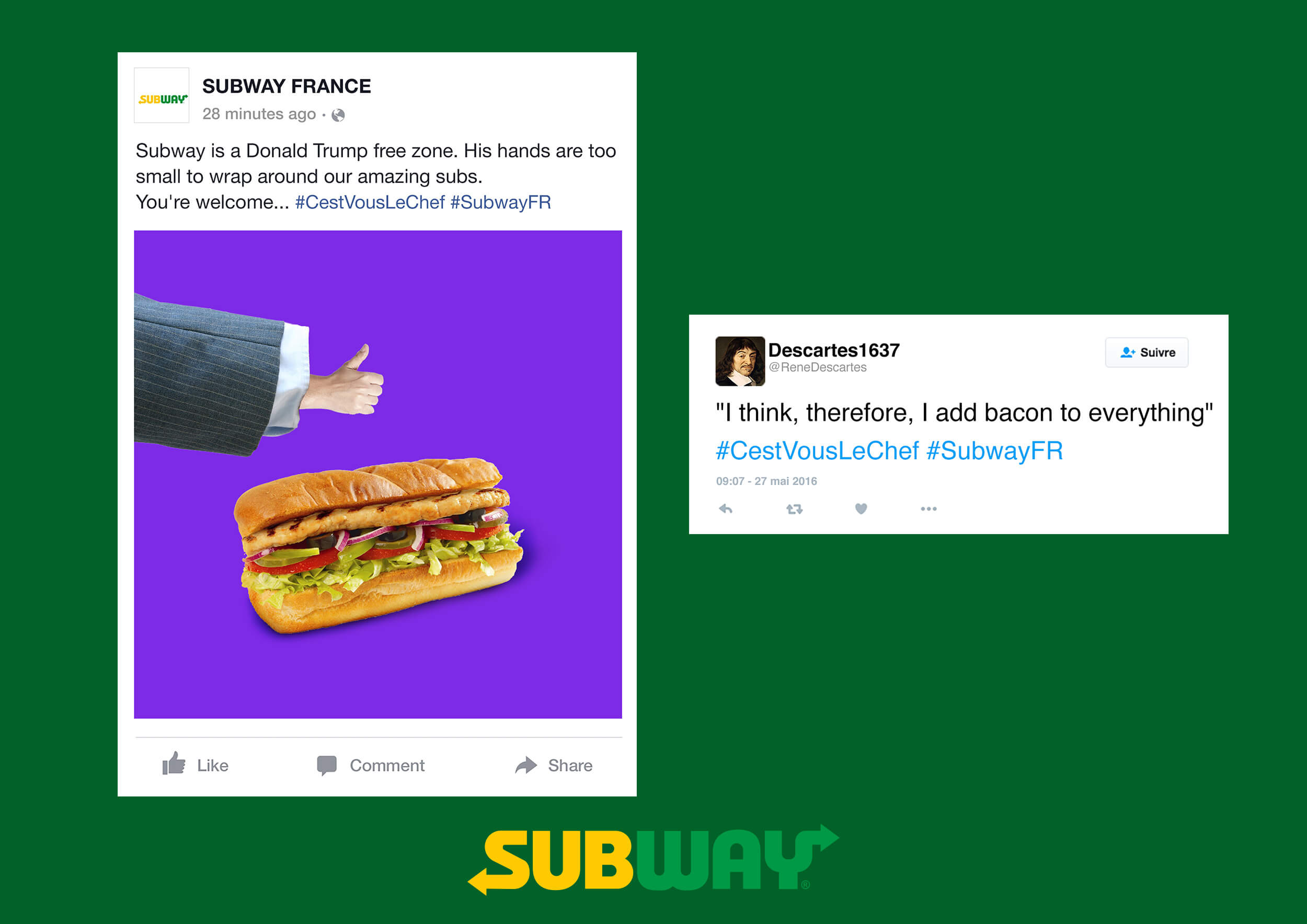 Subway France: Social Media Campaign was designed to promote Subway as the number one choice for French teens. I worked on this with lots of people and was responsible for the concept development and for art direction for these concepts.