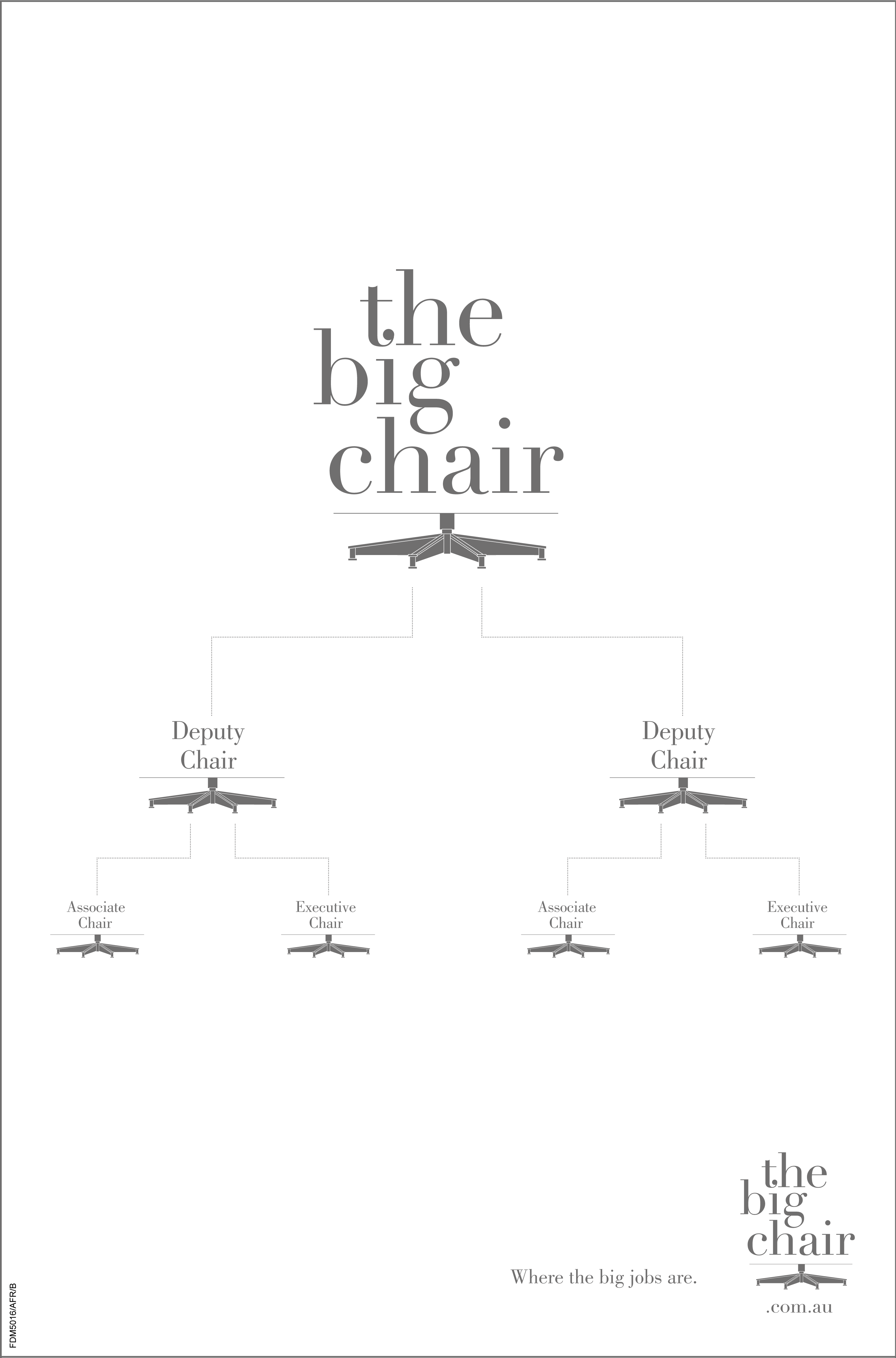 The Big Chair Big Jobs campaign is a premium print campaign that ran in the most prestigious publications in Australia. It was designed to appeal to ambitious, discerning and alpha professionals. It uses simple typography, minimal design, and simplicity to attract bold candidates. I worked under Jess Harold as an art director on this project.